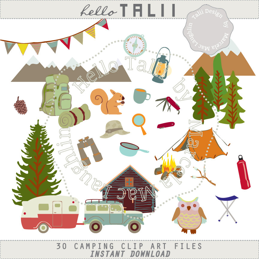 Camping clipart woods Digital 30 Png Camper is