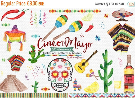 Tequila clipart mexican banner Watercolor Clip Art Commercial Mexico