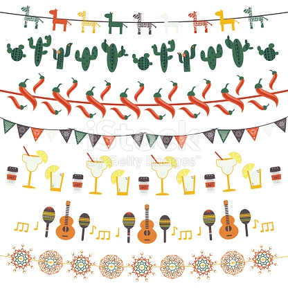 Tequila clipart mexican banner Flags set flags guitar mexican