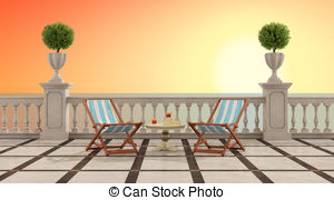 Terrace clipart balcony All tile wall columns Stock