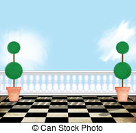 Terrace clipart patio furniture View a View Topiaries With