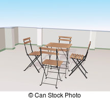 Terrace clipart patio furniture Table terrace chairs a and