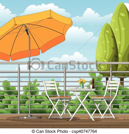 Terrace clipart balcony A csp40747764 Clip of tables
