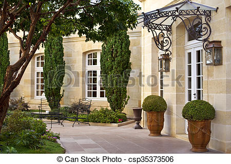 Terrace clipart courtyard French Terrace French mansion Stock