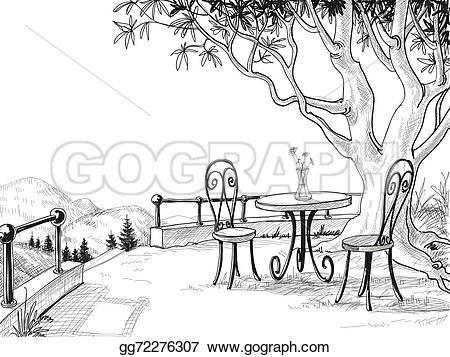 Terrace clipart courtyard Stock Restaurant sketch Stock EPS