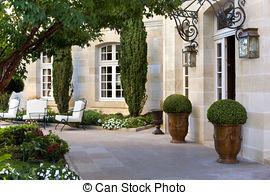 Terrace clipart courtyard Stock mansion; Stylish  Terrace;