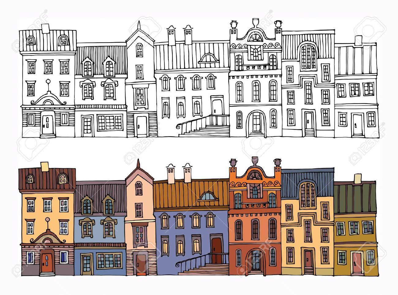 Terrace clipart housing community Drawing And Image Cliparts Houses