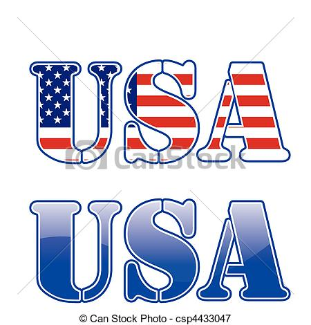 Text clipart usa Usa white of with blue