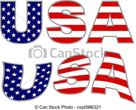 Text clipart usa Illustration with of  white