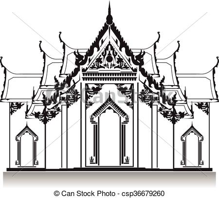 Thai clipart black and white Clipart and white black temple