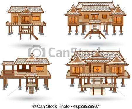 Thai clipart thai house  house house csp28928907 vector