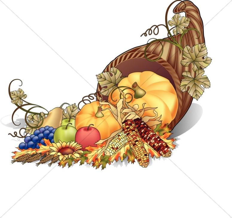 Cornucopia clipart color Sharefaith Clipart Color Thanksgiving Cornucopia
