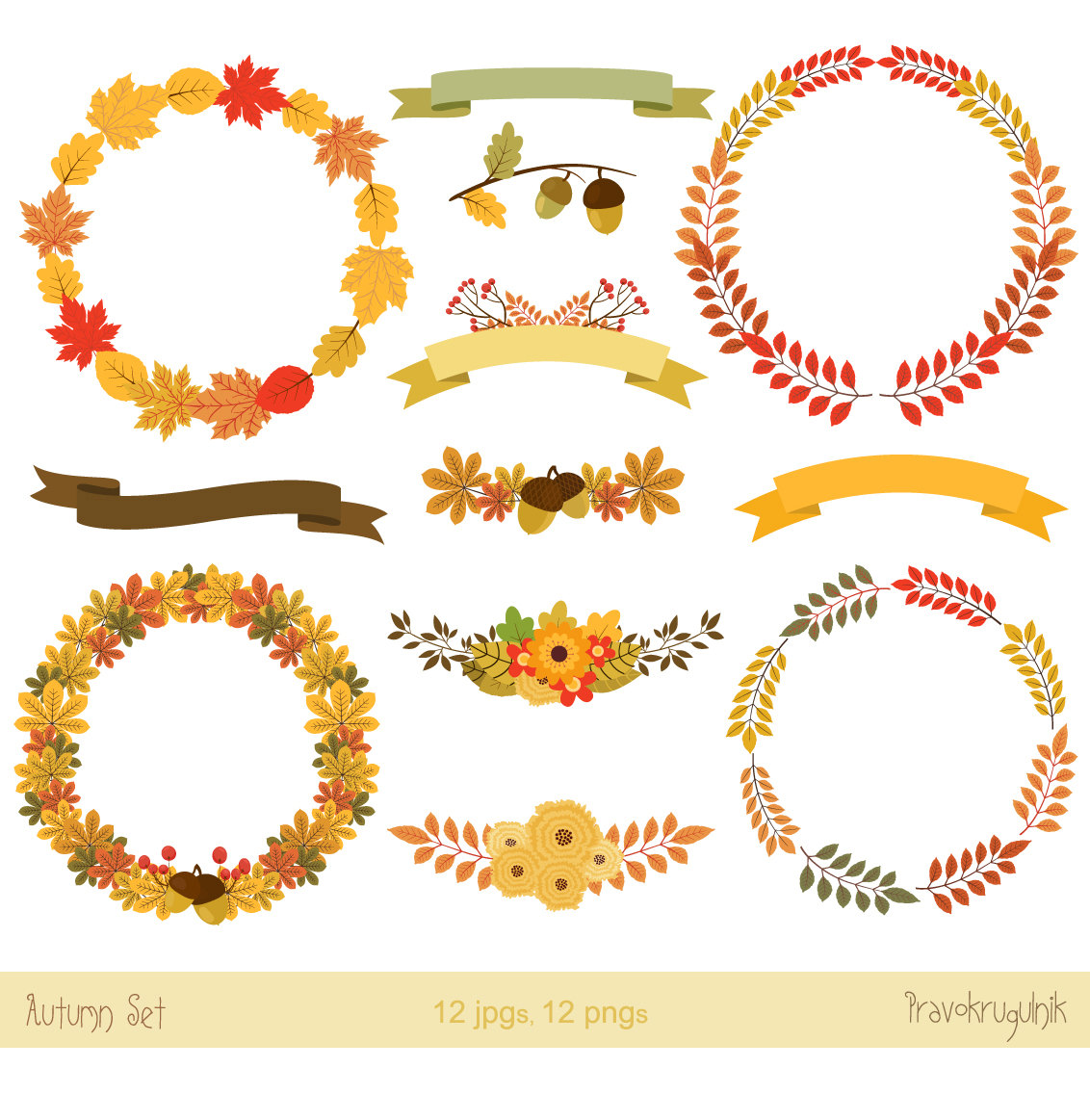 Wreath clipart thanksgiving Fall Autumn This digital leaves
