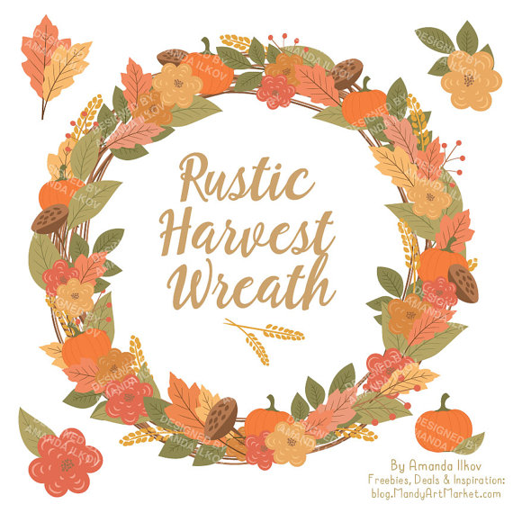 Wreath clipart thanksgiving Inch Clip Premium Harvest 12