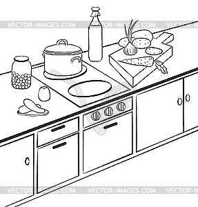 The Kitchen clipart black and white Black white white clipart kitchen