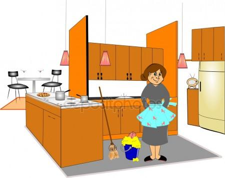 The Kitchen clipart kitchen cleaning The Cleaning lady Retro Stock