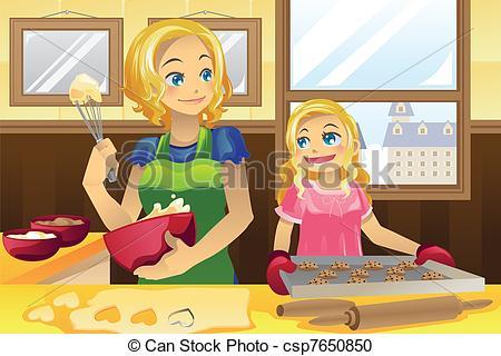 Baking clipart mother daughter Csp7650850 Mother daughter baking vector