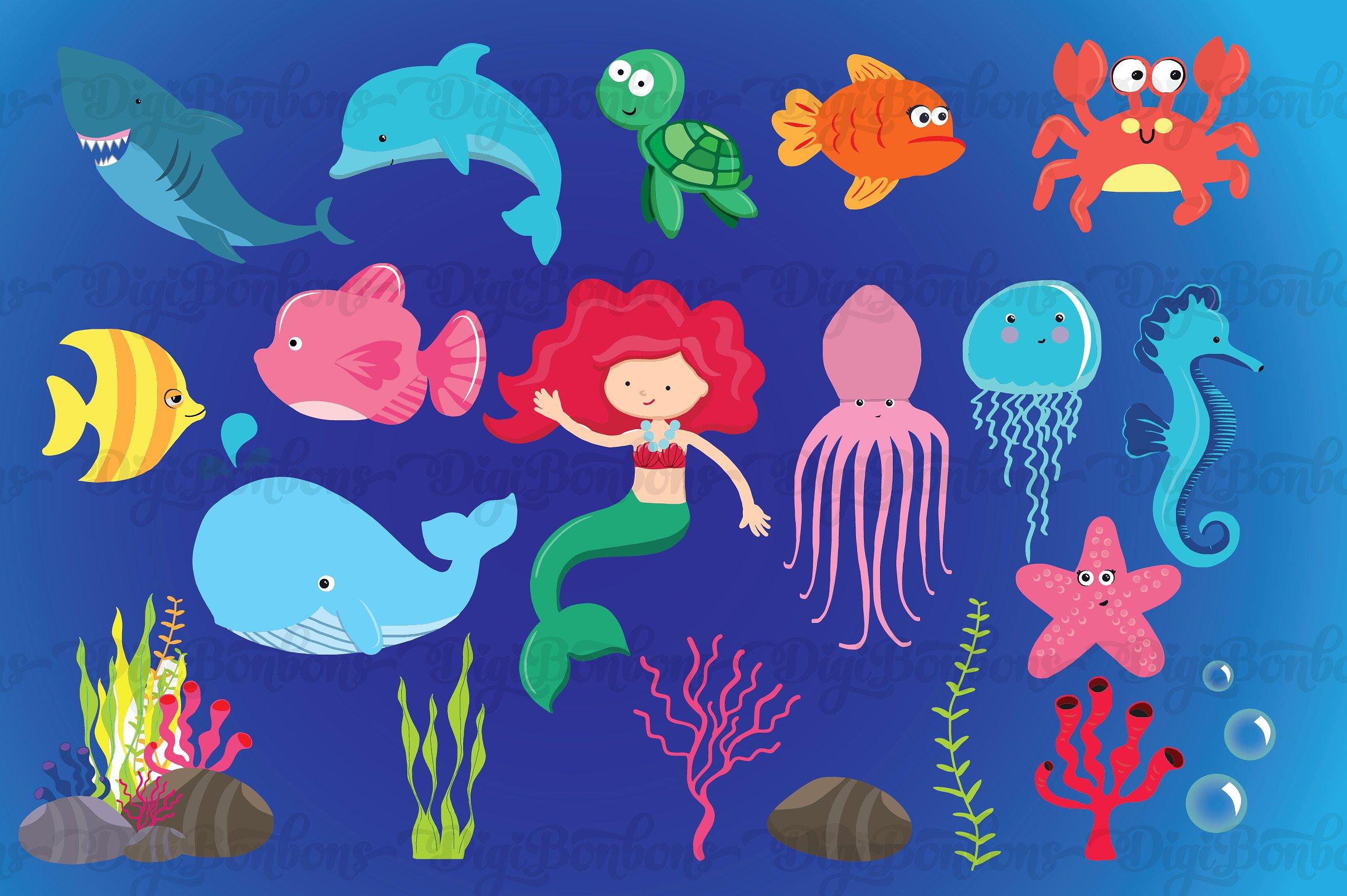 The Sea clipart aquarium animal Illustrations EPS Sea Clipart Creative