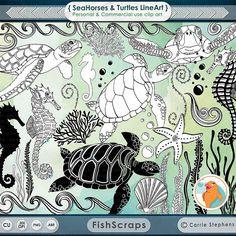 The Sea clipart aquarium animal Doodle Outline & Turtles +