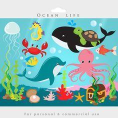 The Sea clipart aquarium animal Dolphin art sea clip jellyfish