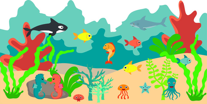 The Sea clipart aquarium animal Home Vinyl Mural Reusable Art