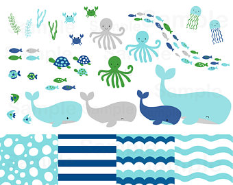 The Sea clipart baby shower whale / / Clipart Paper Whale