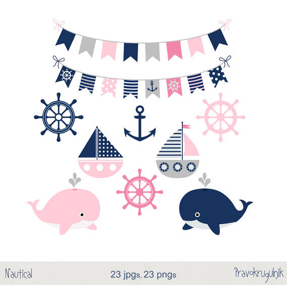 Seafood clipart baby shower whale Girl nautical Summer grey Sea