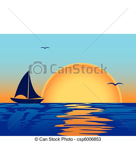 Drawn yacht the sea clipart With sunset sea boat