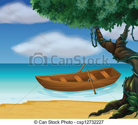 Canoe clipart wooden canoe Of sea csp12732227 Vector Illustration