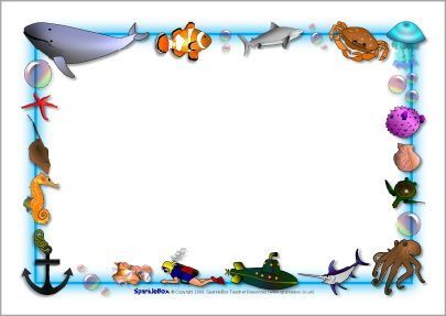The Sea clipart border SparkleBox A4 (SB3881) Under themed