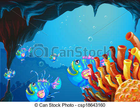 Cave clipart underwater cave School of with A fish