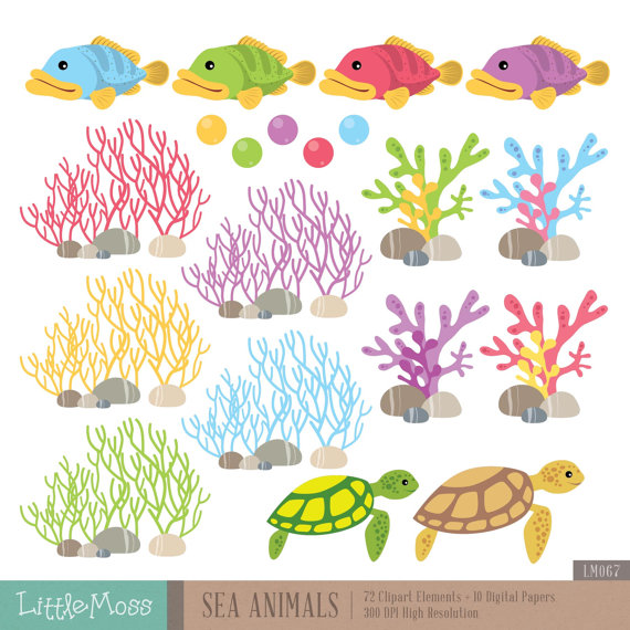 The Sea clipart coral The Clipart Whale Clipart Digital