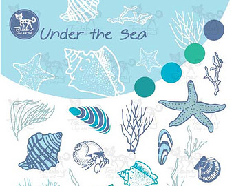 The Sea clipart coral Hand the / Under drawn