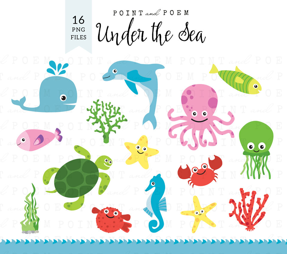 Seafood clipart under sea Cute Etsy clipart: /Instant Sea