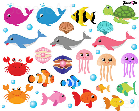 The Sea clipart sea animal Clipart Clipart digital file This