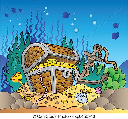 Chest clipart underwate Vector bottom Sea of old