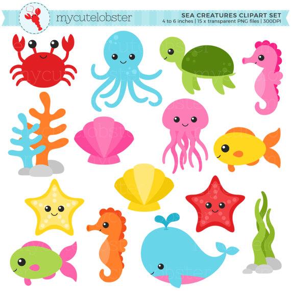 The Sea clipart sea creature Fish Set crab animals sea