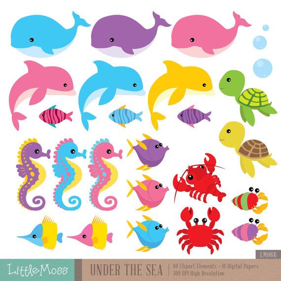 The Sea clipart sea creature Sea LittleMoss Under Clipart Digital