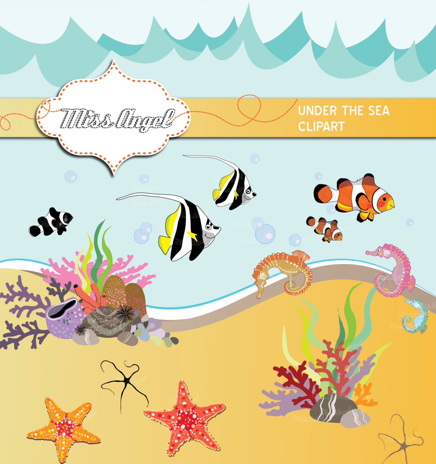 Tropical Fish clipart under sea #6