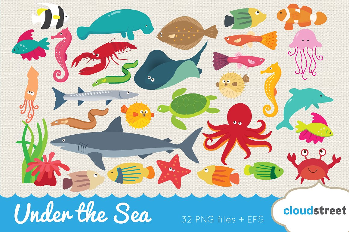 The Sea clipart under sea Fonts Under sea Graphics Templates