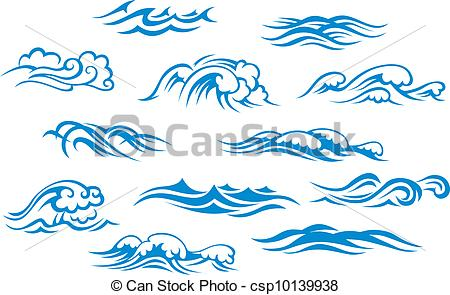 Drawn sea Clipart Clipart waves Stock collection