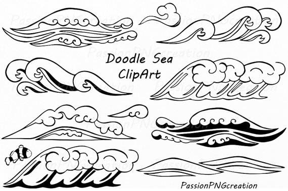 The Sea clipart wave line PNG Hand art Hand Drawn