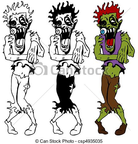 Zombie clipart walking Set Set Zombie Walking An