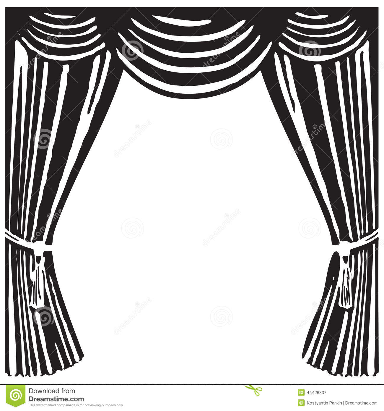 Curtain clipart black and white White Stage Theater Black Clipart