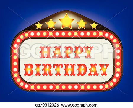 Theatre clipart happy birthday Art theatre marquee Vector EPS