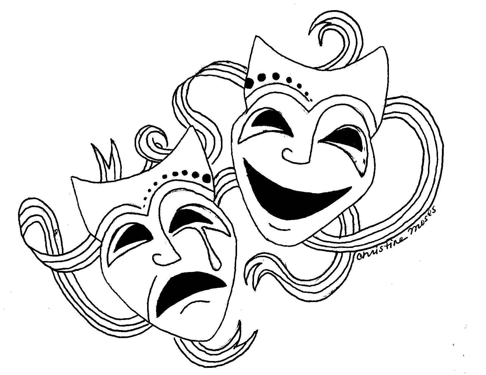Theatre clipart mask drawing Masks Clipart Art Image Clip