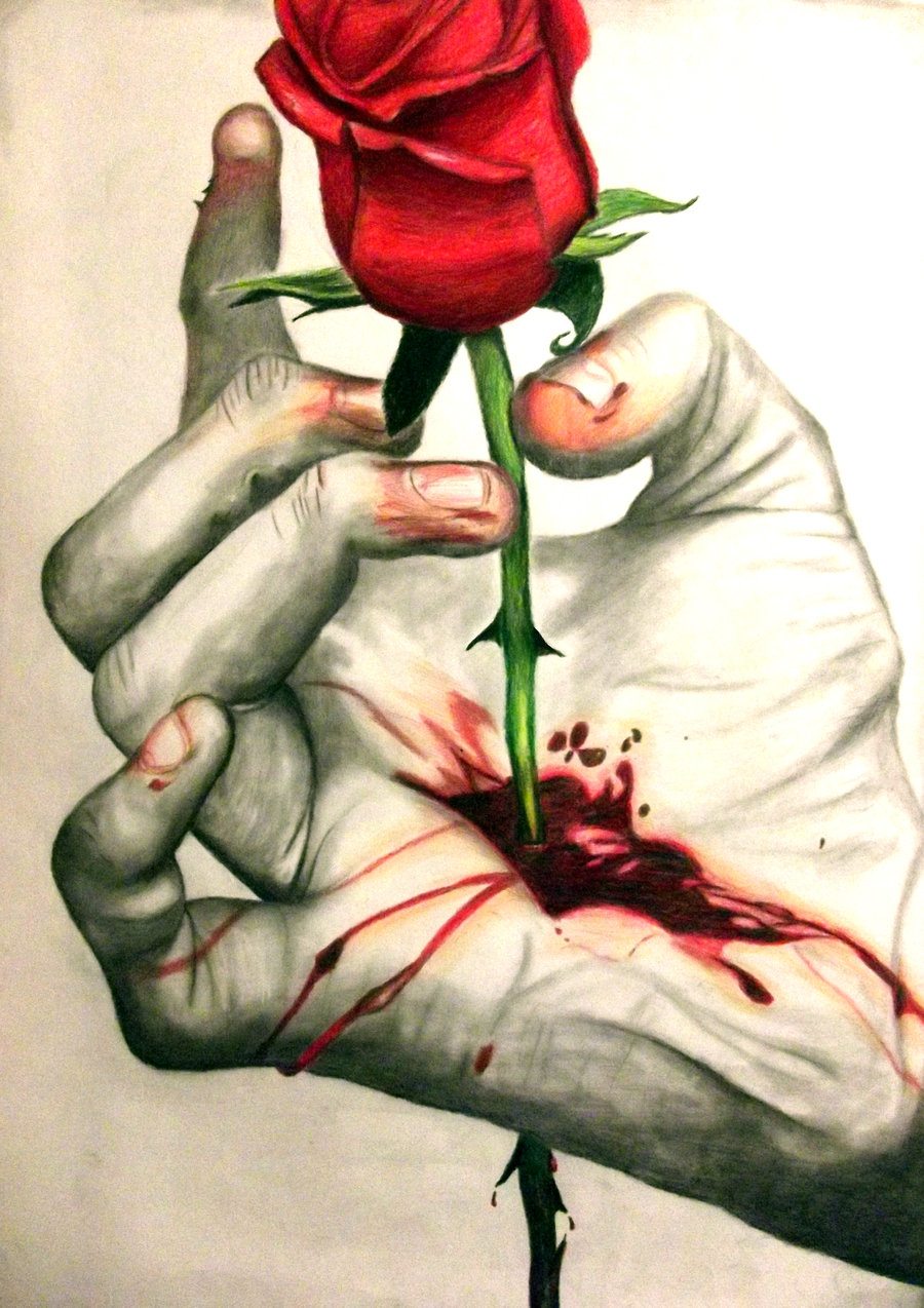 Drawn red rose bleeding love Images With And And Stem