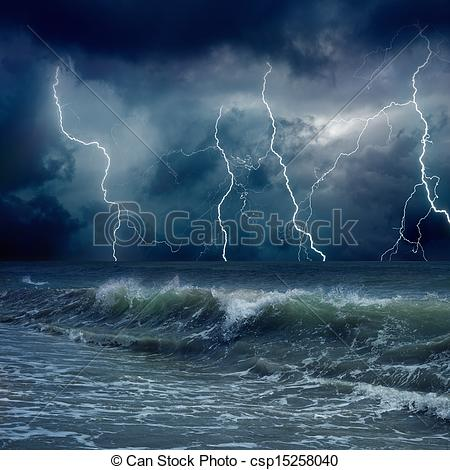 Thunder clipart stormy weather Background of Drawing weather Stock