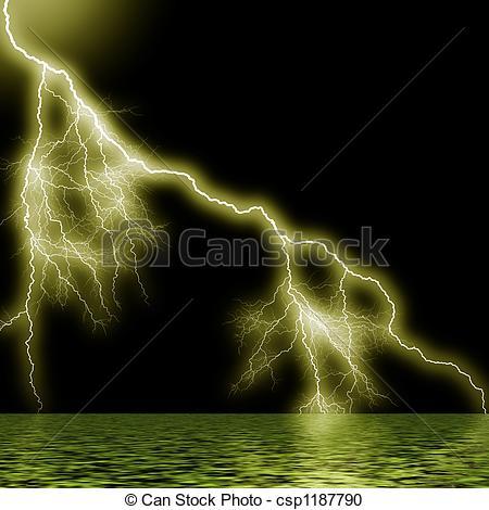 Thunder clipart thunderstorm  of ocean flash Stock
