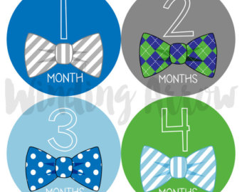 Tie clipart blue and green Baby Month Shower Milestone Monthly